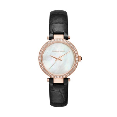 Mini Parker Mop Dial Pave Glitz Bezel Rose Tone Stainless Steel Pink Leather Str