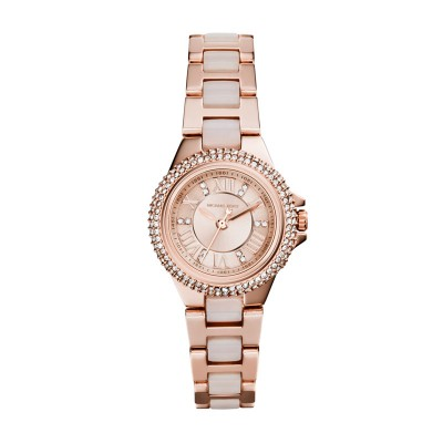 33Mm Mini Slim Runway Two-Tone Three-Hand, Rose Gold-Tone Dial With A Pav� Cryst
