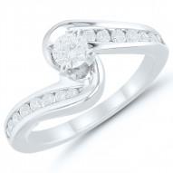 Round Diamond Bypass Engagment Ring