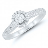 Round Diamond Halo Pave Engagement Ring