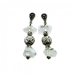 Rock Crystal Quartz And Silver Flower Bead Drop Earrings S/S Teardrop Fixture -