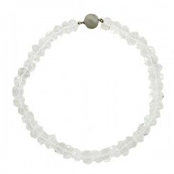 Rock Crystal Quartz Bead Necklace With Brushed S/S Ball Clasp (50 Beads)