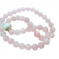 Rose Quartz Bead Necklace With Lg Brushed Sterling Ball Clasp (44 Beads)