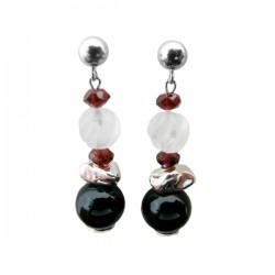 Garnet Onyx Crystal & Silver Bead Dangle Earrings S/S Ball Fixture Brl Design