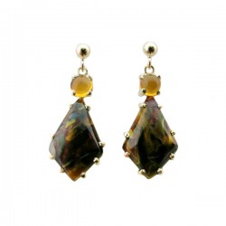 Pietersite {Nambia} & Cab Citrine Dangle Earrings On Ball & Post Fixtures 14K Yg