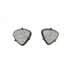Tri Shape 'Platinum' Onyx Druzy 3 Prong Stud Earrings 14K Wg - Brl Design