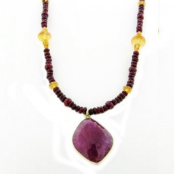 16.75Cttw Ruby Slice Pendant With 2 Ruby & Citrine Bead Dangles On Ruby & Citrin
