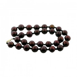 12.5-13.5Mm Dyed Chocolate Fw Pearls With Faceted Black Spinel Bead Spacers 14K