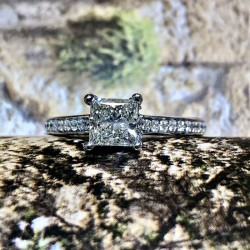 Forevermark Ideal Princess and Diamond Engagement Ring