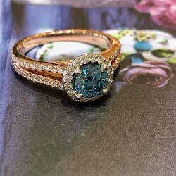 Irradiated Round Blue and White Diamond Halo Ring