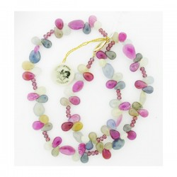 Multi Shape Sapphire And Ruby Beads And Ruby Rondelles Necklace With 14K Yg Clas