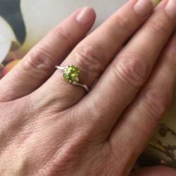 Peridot and Diamond Bypass Ring