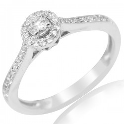 Round Diamond Halo with Diamond shank
