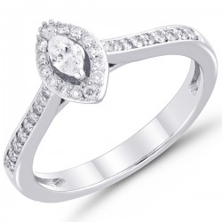 Marquise Diamond Halo with Diamond Shank