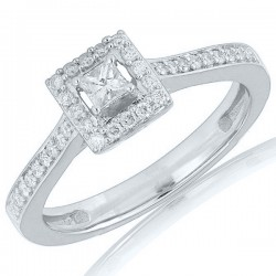 Princess Diamond Halo with Diamond Shank