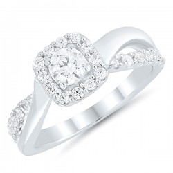 Princess Split shank Engagment Ring