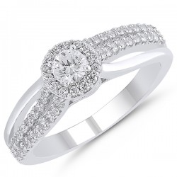 Round Diamond Pave Engagement Ring