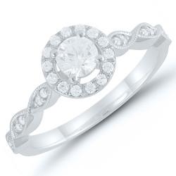Round diamond Vintage halo Engagment Ring