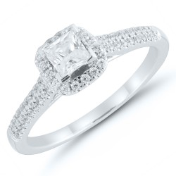 Princess Cut Diamond Pave Engagement Ring