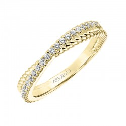 Pave And Rope Cross 14K Yellow Gold WEDDING BAND
