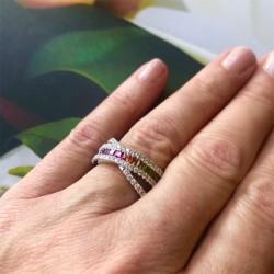 Multi colored Sapphire crisscross ring
