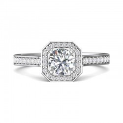 FlyerFit® 14K White Gold Micropave Halo Engagement Ring