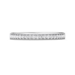 FlyerFit® 14K White Gold Micropave Bead Set Wedding Band