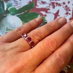 Oval Rubies and diamond Anniversary Ring