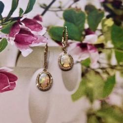 Ethiopian Opal and Diamond Earrings