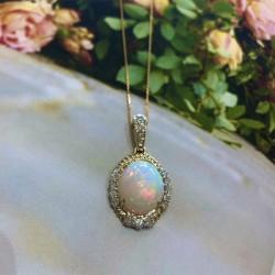 Ethiopian Opal and Diamond Pendant