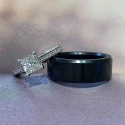 Crushed Diamond Mens 8mm Wedding Band