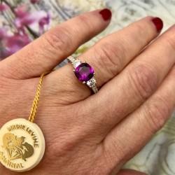 Birdie Levine Creations Grape Garnet and Diamond Ring