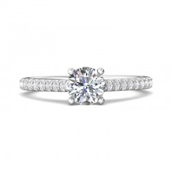 FlyerFit® 14K White Gold Micropave Engagement Ring