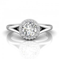 FlyerFit® 14K White Gold Split Shank Engagement Ring