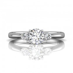 FlyerFit® 14K White Gold Three Stone Engagement Ring