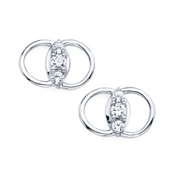 Diamond Marriage Symbol WG Earrings