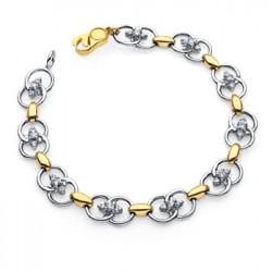 Diamond Marriage Symbol Two Tone Bracelet