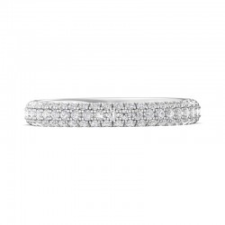 FlyerFit® 14K White Gold Micropave Wedding Band