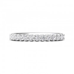 FlyerFit® 14K White Gold Shared Prong Wedding Band