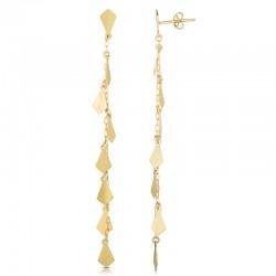 14K Diamond Shape Mirror Chain Earrings
