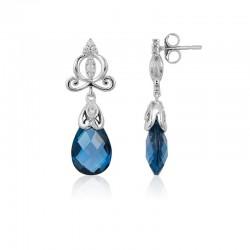 Cinderella Carriage London Blue Topaz Briolette Earrings