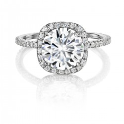 Black Label Round Halo Pave Engagement Ring