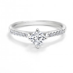 Black Label Cushion Diamond  and Pave Engagement Ring