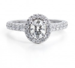 Black Label Oval Halo Pave Engagement Ring