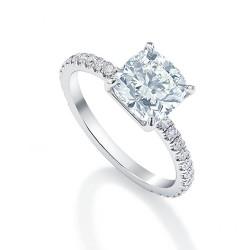 Black Label Cushion Pave Engagement Ring