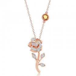 Belle Rose Long Stem Diamond Pendant