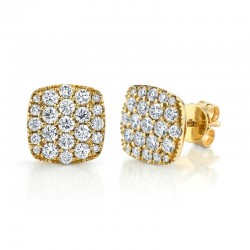 1.10ct 14k Yellow Gold Diamond Pave Stud Earring