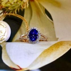 Tanzanite Zoisite and Diamond Ring