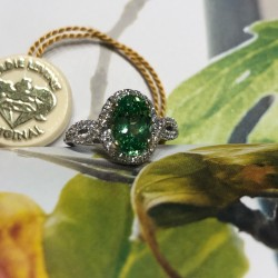 Birdie Levine Creations Green Grossularite Garnet and Diamond Ring