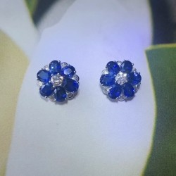 Ceylon Sapphire and Diamond Flower Earrings